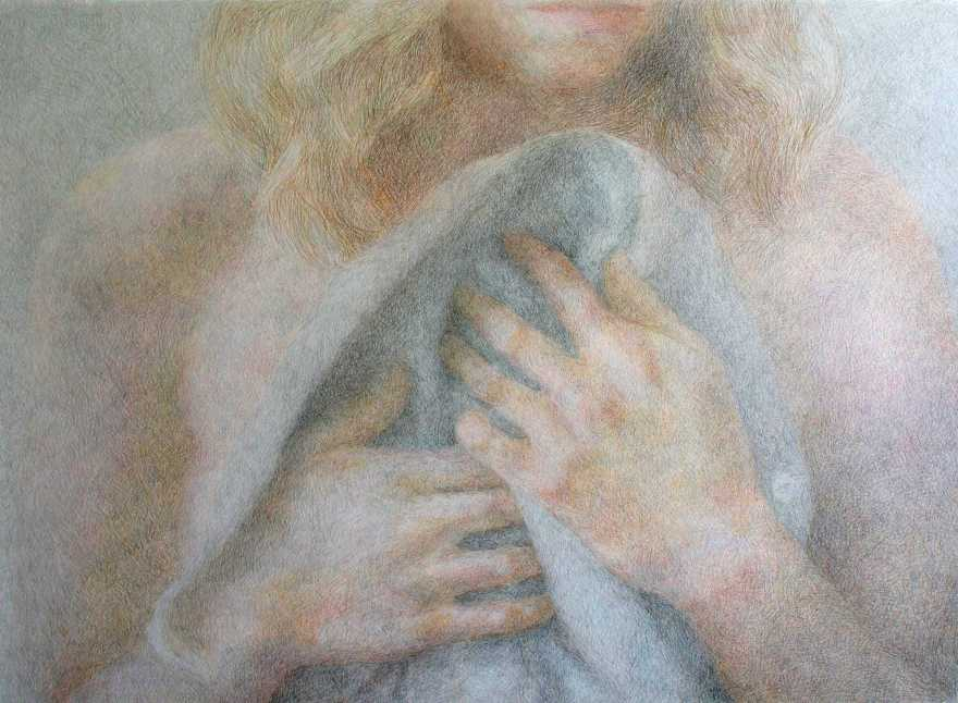 drawing of a girl gently holding a shirt to her chest by Anni Henriksson