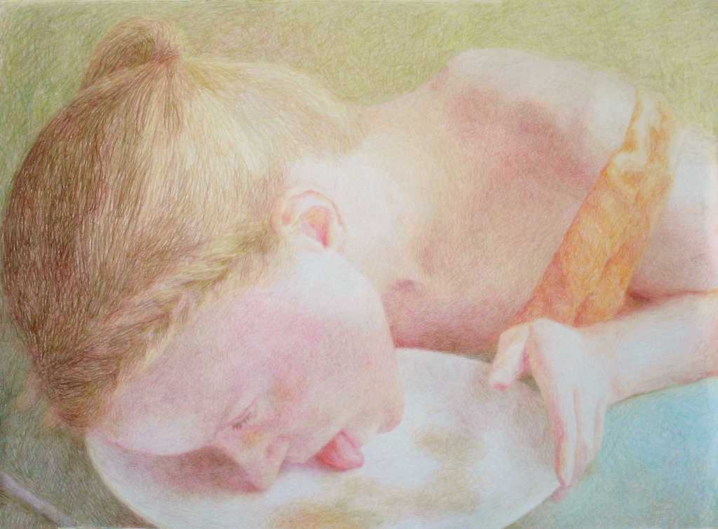 pencil crayon drawing of awoman licking a plate after eating from it by Anni Henriksson