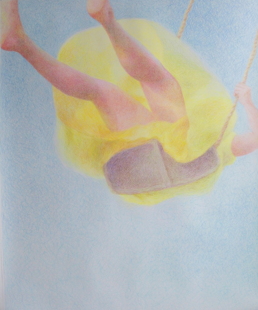 Contemporary drawing of a yellow dressed girl swinging in a light atmosphere