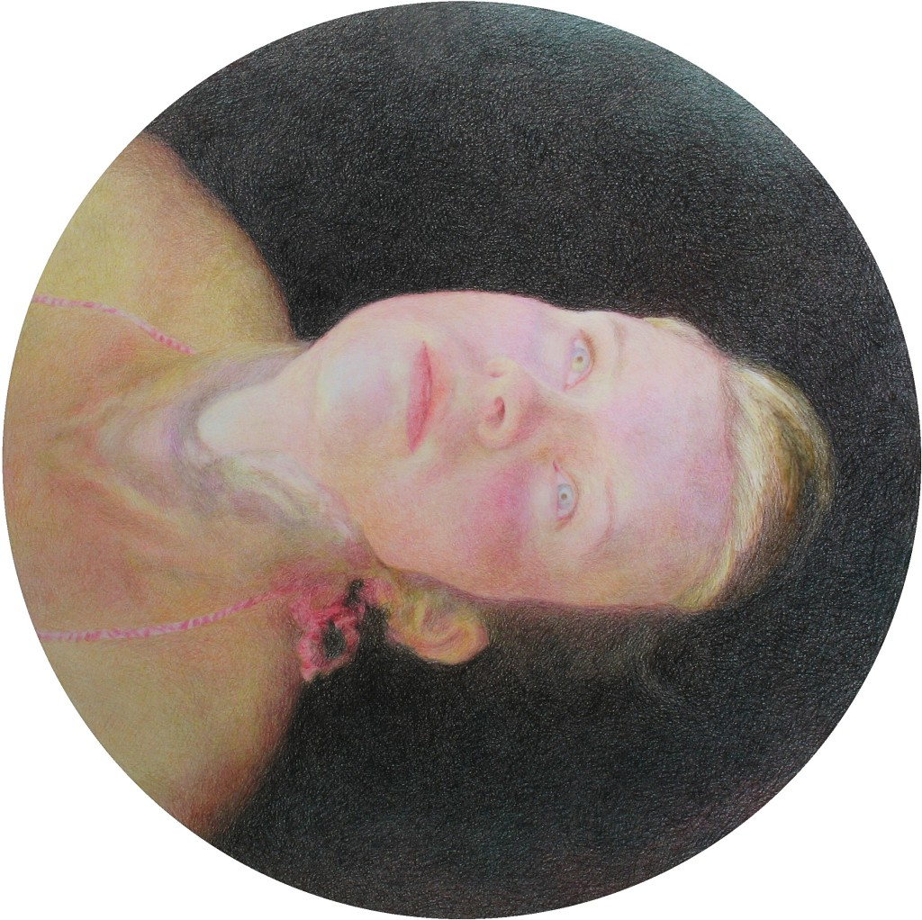 pencil crayon drawing of a woman with tense expression floating in dark water by Anni Henriksson