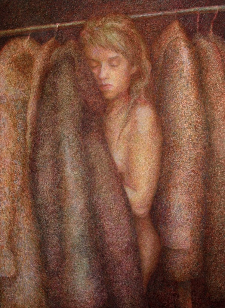 egg tempera painting of a naked woman in the closet with soft winter jackets by Anni Henriksson