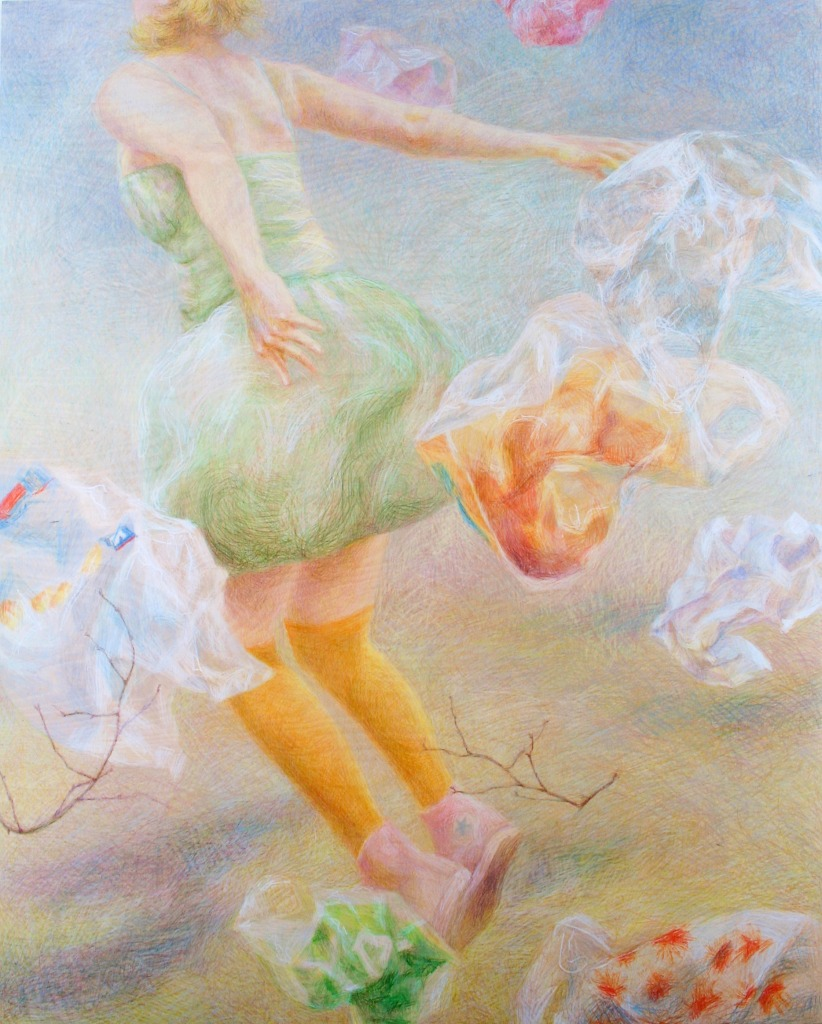 mixed media drawing of a girl jumping on air by Anni Henriksson